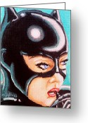 Batman Greeting Cards - Meow Greeting Card by Al  Molina