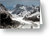 Snowy Greeting Cards - Mer de Glace - Mont Blanc Glacier Greeting Card by Frank Tschakert