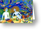Sue Burgess Ceramics Greeting Cards - Mer Quarrel Greeting Card by Sushila Burgess