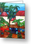 Tropical Fruits Greeting Cards - Mercado en Puerto Rico Greeting Card by Patti Schermerhorn