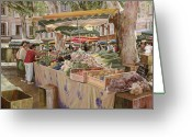 Umbrella Painting Greeting Cards - Mercato Provenzale Greeting Card by Guido Borelli