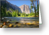 Granite Walls Greeting Cards - Merced River in Yosemite Valley Greeting Card by Brian Ernst