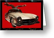 Transportation Digital Art Greeting Cards - Mercedes 300SL Gullwing . Front Angle Artwork Greeting Card by Wingsdomain Art and Photography