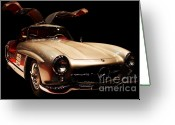 Cars Greeting Cards - Mercedes 300SL Gullwing . Front Angle Black BG Greeting Card by Wingsdomain Art and Photography