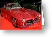 Race Car Photo Greeting Cards - Mercedes 300SL . Red . 7D9172 Greeting Card by Wingsdomain Art and Photography