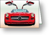 Super Car Greeting Cards - Mercedes Amg Sls Greeting Card by Alain Jamar