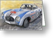 Sport Painting Greeting Cards - Mercedes Benz 300 SL 1952 Carrera Panamericana Mexico  Greeting Card by Yuriy  Shevchuk