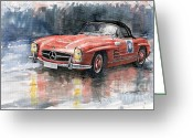 Old Greeting Cards - Mercedes Benz 300SL Greeting Card by Yuriy  Shevchuk
