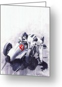 Watercolour Greeting Cards - Mercedes Benz W125 Rudolf Caracciola the German Grand Prix Nurburgring 1937  Greeting Card by Yuriy  Shevchuk