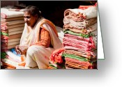 Rugs Greeting Cards - Merchant - India Greeting Card by John Battaglino