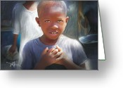 Haitian Greeting Cards - Merci  Thank You Greeting Card by Bob Salo