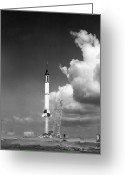 Redstone Greeting Cards - Mercury Flight Greeting Card by Photo Researchers, Inc.