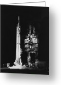 Redstone Greeting Cards - Mercury-redstone 3 Missile On Launch Greeting Card by Stocktrek Images