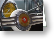 Antique Automobile Greeting Cards - Mercury Steering Wheel Greeting Card by Dennis Hedberg