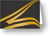 Yellow Line Greeting Cards - Merge Greeting Card by Paul Wear