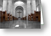Travelpixpro Greeting Cards - Merida Mexico Cathedral Interior Color Splash Black and White Greeting Card by Shawn OBrien