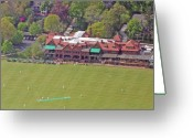 Aerials Greeting Cards - Merion Cricket Club Cricket Festival Clubhouse Greeting Card by Duncan Pearson
