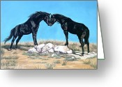 Horse Art Pastels Greeting Cards - Merlins Spirit Greeting Card by Kim McElroy