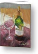 Corked Greeting Cards - Merlot and friends Greeting Card by Liz Dettrey