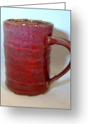 Thrown Ceramics Greeting Cards - Merlot Mug Greeting Card by Lauren Bausch
