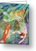 Felted Tapestries - Textiles Greeting Cards - Mermaid and Fish Greeting Card by Nicole Besack