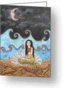 Fish Art Pastels Greeting Cards - Mermaid and Moon Greeting Card by Rain Ririn