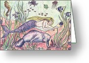 N Taylor Greeting Cards - Mermaid and the Manatee Greeting Card by N Taylor