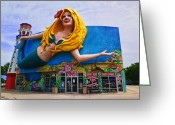 Sea Creature Greeting Cards - Mermaid Building Greeting Card by Garry Gay