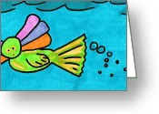 Lime Drawings Greeting Cards - Mermaid Creature Greeting Card by Jera Sky