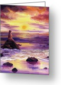 Laura Milnor Iverson Greeting Cards - Mermaid in Purple Sunset Greeting Card by Laura Iverson