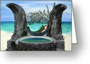 Storybook Greeting Cards - Mermaid Island Dream Greeting Card by Karen Devonne Douglas