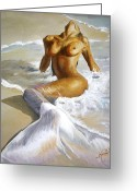 Woman Painting Greeting Cards - Mermaid Greeting Card by Karina Llergo Salto