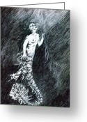 Outsider Art Drawings Greeting Cards - Mermaid Greeting Card by Kd Neeley
