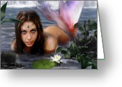 Nude Woman Digital Art Greeting Cards - Mermaid Lagoon Greeting Card by Crispin  Delgado