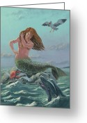 Dolphin Digital Art Greeting Cards - Mermaid On Rock Greeting Card by Martin Davey