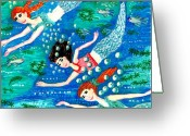 Sue Burgess Ceramics Greeting Cards - Mermaid race Greeting Card by Sushila Burgess