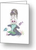 Paula Dickerhoff Greeting Cards - Mermaid Under the Sea Greeting Card by Paula Dickerhoff