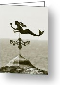 Weathervane Greeting Cards - Mermaid Weathervane In Sepia Greeting Card by Ben and Raisa Gertsberg