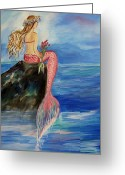 Nursury Greeting Cards - Mermaid Wishes Greeting Card by Leslie Allen