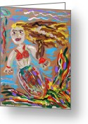 Outsider Art Drawings Greeting Cards - Mermaid with a Fantastic Fin Greeting Card by Mary Carol Williams