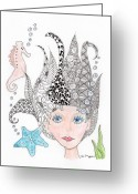 Paula Dickerhoff Greeting Cards - Mermaiden Greeting Card by Paula Dickerhoff