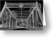 Horizontal Lines Digital Art Greeting Cards - Merriam Street Bridge Greeting Card by Bill Tiepelman