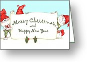 Aften Greeting Cards - Merry Christmas Banner Greeting Card by Ghita Andersen