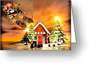 Cheerful Greeting Cards - Merry Christmas  Boxing Day Rocket Sliegh Ride Greeting Card by Bob Orsillo