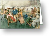 Ice Skates Greeting Cards - Merry Christmas Greeting Card by Frank Dadd