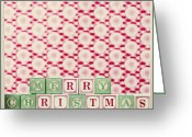 Christmas Blocks Greeting Cards - merry Christmas Greeting Card by Reb
