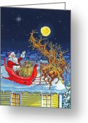 Sleigh Greeting Cards - Merry Christmas To All Greeting Card by Richard De Wolfe