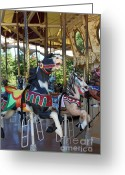 County Fair Greeting Cards - Merry Go Around - 5D19207 Greeting Card by Wingsdomain Art and Photography