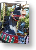 County Fair Greeting Cards - Merry Go Around - 5D19210 Greeting Card by Wingsdomain Art and Photography