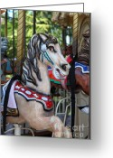 County Fair Greeting Cards - Merry Go Around - 5D19211 Greeting Card by Wingsdomain Art and Photography